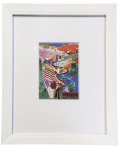 1985 David Hockney 'Nichols Canyon' Pop Art Multicolor Offset Lithograph Framed