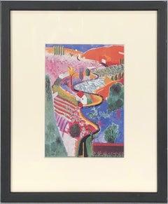1985 David Hockney 'Nichols Canyon' Pop Art Multicolor USA Offset Lithograph