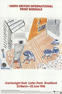 1986 David Hockney 'Pembroke Studio with Blue Chairs and Lamp' Offset Lithograph
