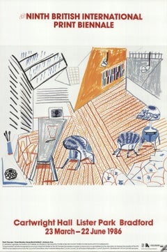 1986 After David Hockney 'Pembroke Studio with Blue Chairs and Lamp' Pop Art