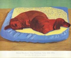 1995 After David Hockney 'Dog Painting 43' Pop Art Offset Lithograph