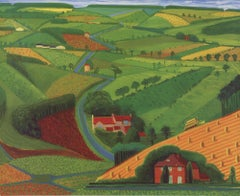 1997 David Hockney 'The Road Across the Wolds' Pop Art Green,Red,Brown