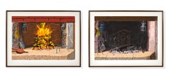 """""""A Bigger Fire"""" and """"No Fire"""" iPad prints pair by David Hockney"""