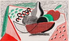 Apples, Pears & Grapes -- Print, Homemade, Still-life by David Hockney