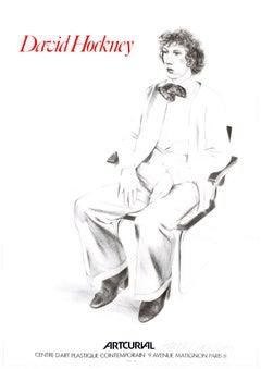 David Hockney SIGNED vintage portrait Artcurial, Paris 1979 (Gregory Evans 1976)