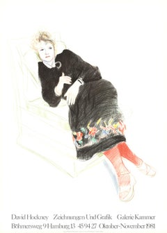 "David Hockney-Celia In A Black Dress With Colored Border-35"" x 25""-Lithograph"