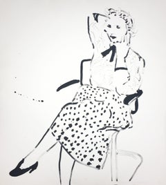 "David Hockney Celia in a Polka Dot Skirt"" Lithograph and Screenprint"