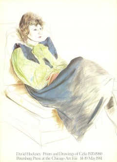 """Celia Wearing Checkered Sleeves-36"""" x 26""""-Lithograph-1981-Pop Art"""