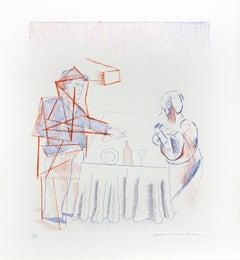 David Hockney, Figures with Still Life, from The Blue Guitar portfolio , 1977