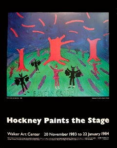 "David Hockney Exhibition Poster-Ravel's Garden with Night Glow-34"" x 27"""