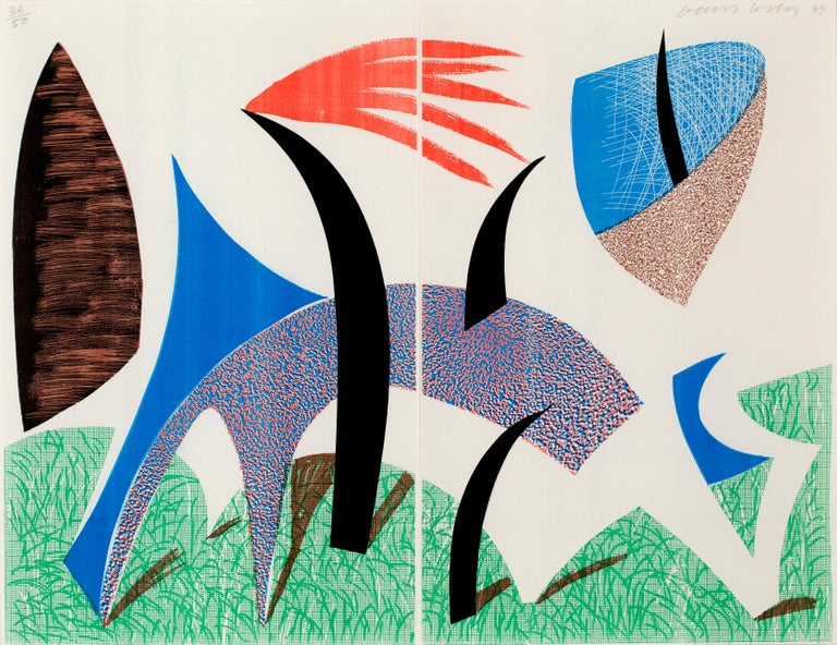 DAVID HOCKNEY Diptychon, 1989 Homemade print in colours executed on an office colour copy machine On two sheets of thin laid paper Signed, dated in pencil and numbered from the edition of 50 Printed and published by the artist Sheet: 43.0 × 55.4 cm