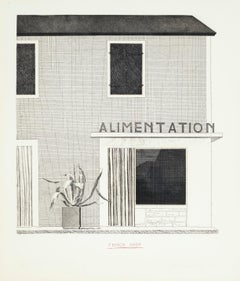 French Shop -- Etching, Architecture Print by David Hockney