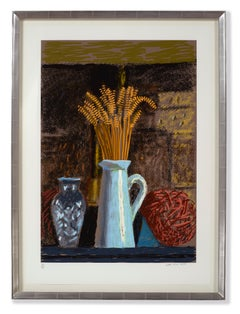 Glass Vase, Jug and Wheat