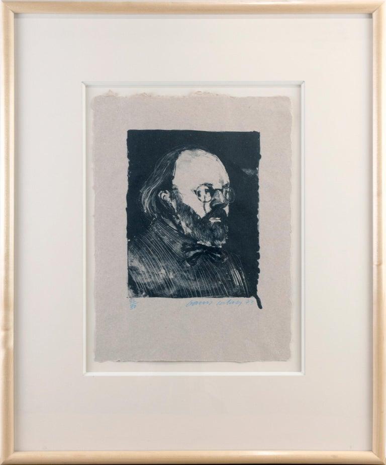 Henry '73 (Framed) David Hockney portrait drawing of Metropolitan Museum curator - Beige Portrait Print by David Hockney