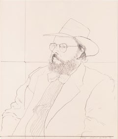 Henry with Hat: framed black white portrait of Henry Geldzahler by David Hockney