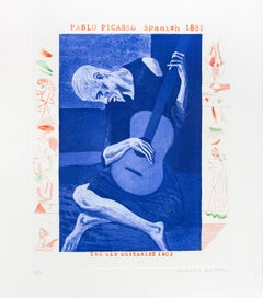 Hockney, The Old Guitarist, from The Blue Guitar portfolio, 1977