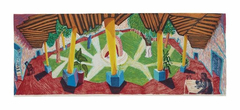 David Hockney Landscape Print - Hotel Acatlan: Two Weeks Later; The Moving Focus Series
