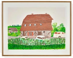 """""""In Front of House Looking South"""" Normandy print by British artist David Hockney"""