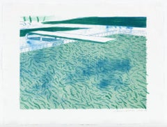 Lithograph of Water Made of Lines, a Green Wash, and a Light Blue Wash