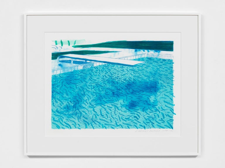 David Hockney Landscape Print - Lithograph of Water Made of Lines with Two Light Blue Washes