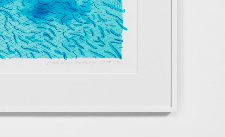 Lithograph of Water Made of Lines with Two Light Blue Washes - Contemporary Print by David Hockney