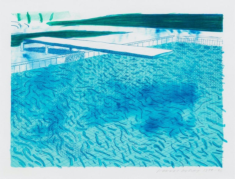Lithograph of Water Made of Lines with Two Light Blue Washes - Print by David Hockney