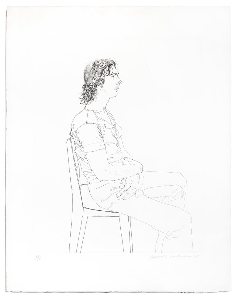 Maurice Payne David Hockney seated black and white portrait drawing of young man - Realist Print by David Hockney