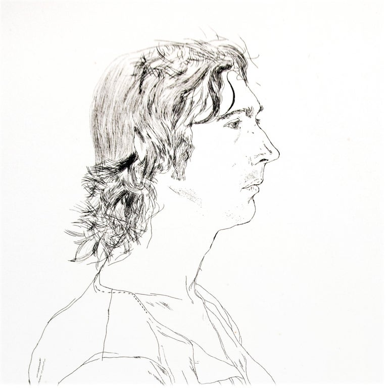 Maurice Payne David Hockney seated black and white portrait drawing of young man - Gray Portrait Print by David Hockney