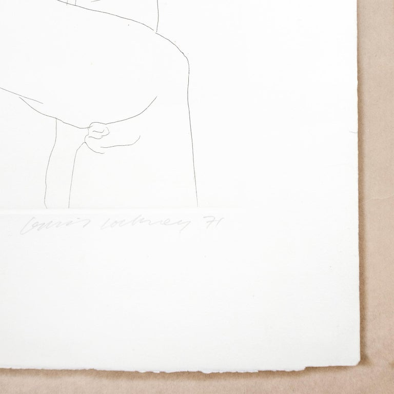 Maurice Payne David Hockney seated black and white portrait drawing of young man For Sale 1