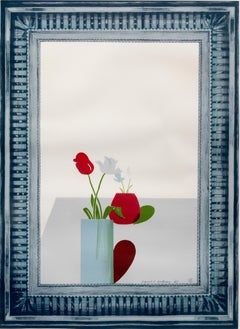 Picture of a still life in an elaborate silver frame - Print, Lithograph