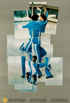 Skater  -- Print, Lithograph, Olympic Winter Games, Poster by David Hockney