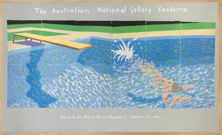 David Hockney Figurative Print - The Australian National Gallery Canberra (Paper Pool 17) vintage poster