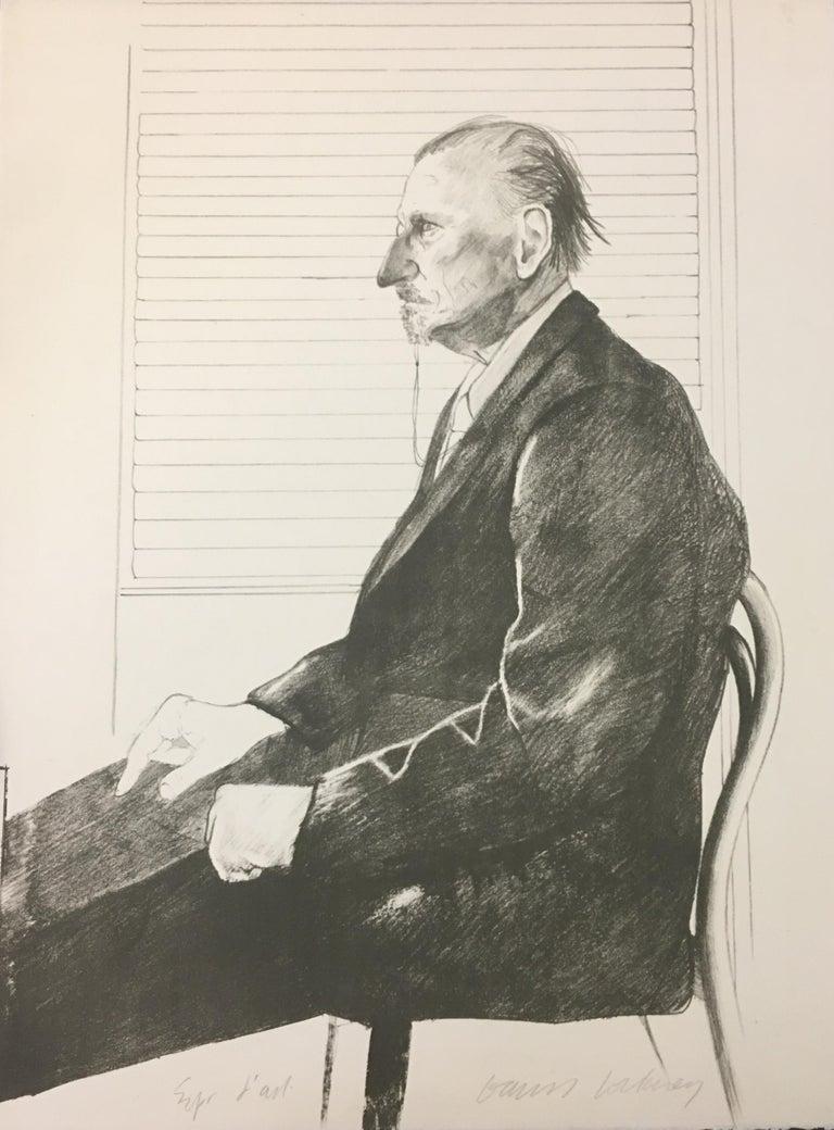 The Print Collector(Portrait of Felix Mann) - 1960s - David Hockney - Lithograph - Beige Portrait Print by David Hockney