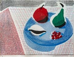 The Round Plate, April 1986 -- Print, Homemade, Still-life by David Hockney