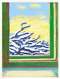 Untitled No.610 -- iPhone Drawing, Window, Winter, Snow by David Hockney