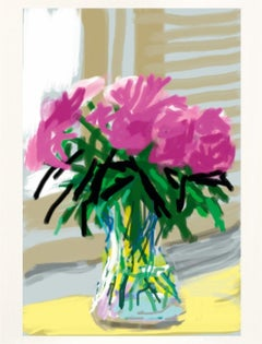 Untitled No.535 -- iPhone Drawing, Window, Still Life, Flowers by David Hockney