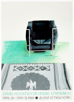 Vintage '69 turquoise David Hockney Poster Corbusier Chair, southwestern Kilim