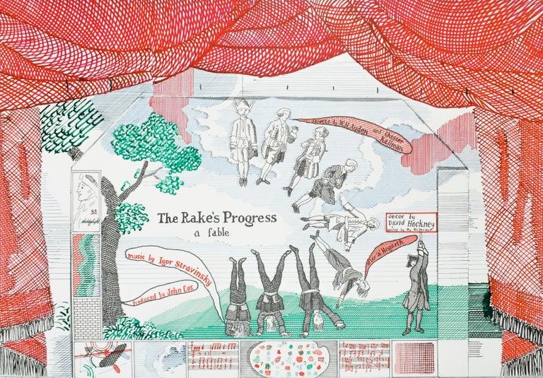 Vintage David Hockney Poster Ashmolean Museum 1981 Costume Stage Set designs - Print by (after) David Hockney
