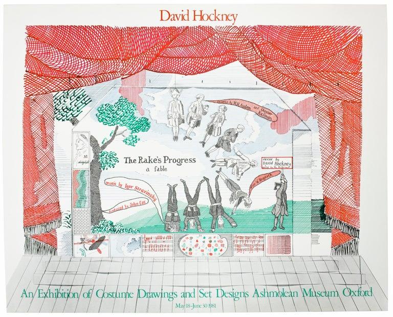 (after) David Hockney Figurative Print - Vintage David Hockney Poster Ashmolean Museum 1981 Costume Stage Set designs