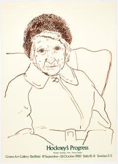 Vintage David Hockney poster Graves Art Gallery 1980 (The Artist's Mother1978)