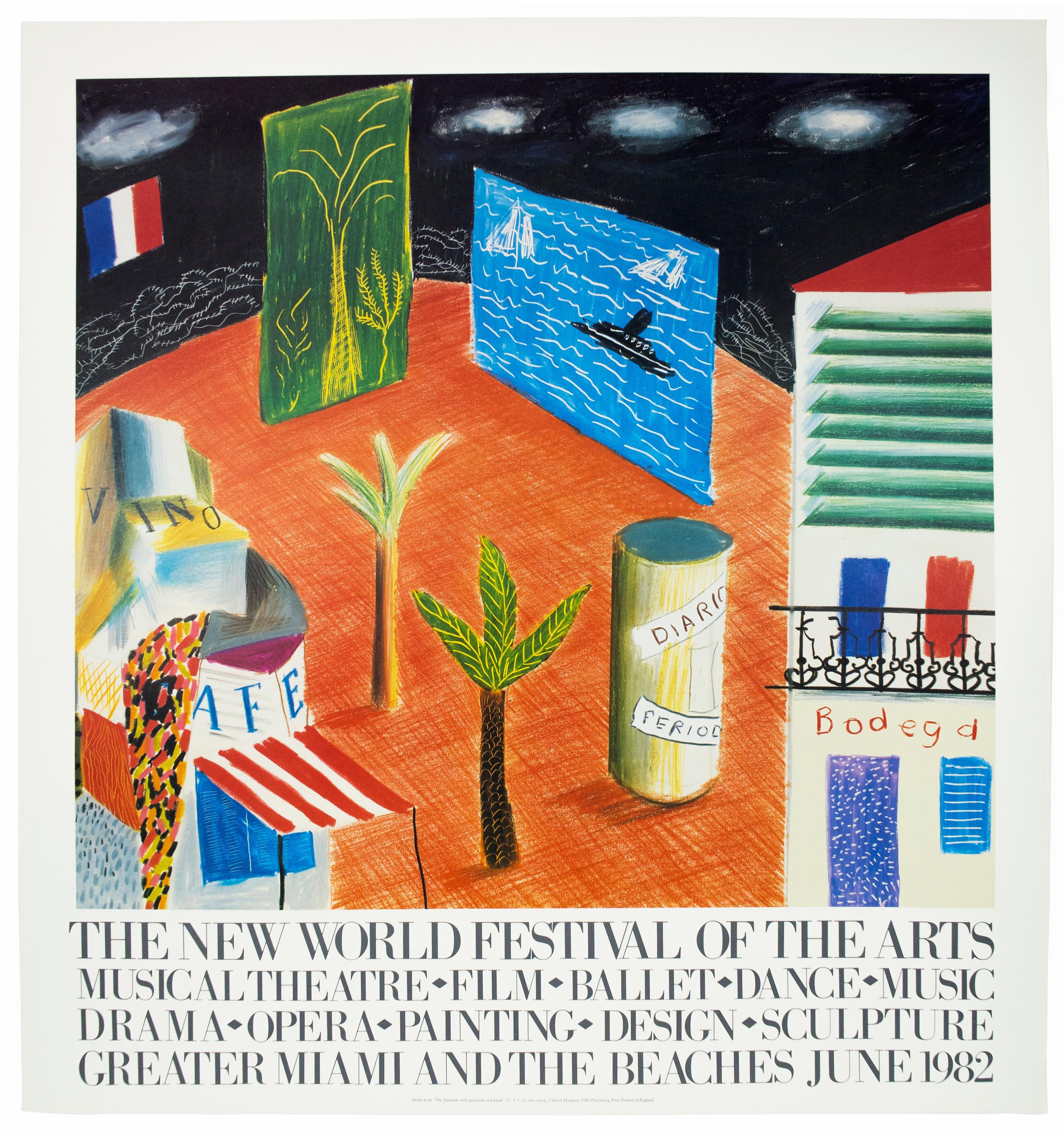 Vintage David Hockney Poster Miami New World Festival of Arts 1982 palm trees
