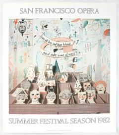 Vintage David Hockney Poster San Francisco Opera 1982, whimsical color drawings
