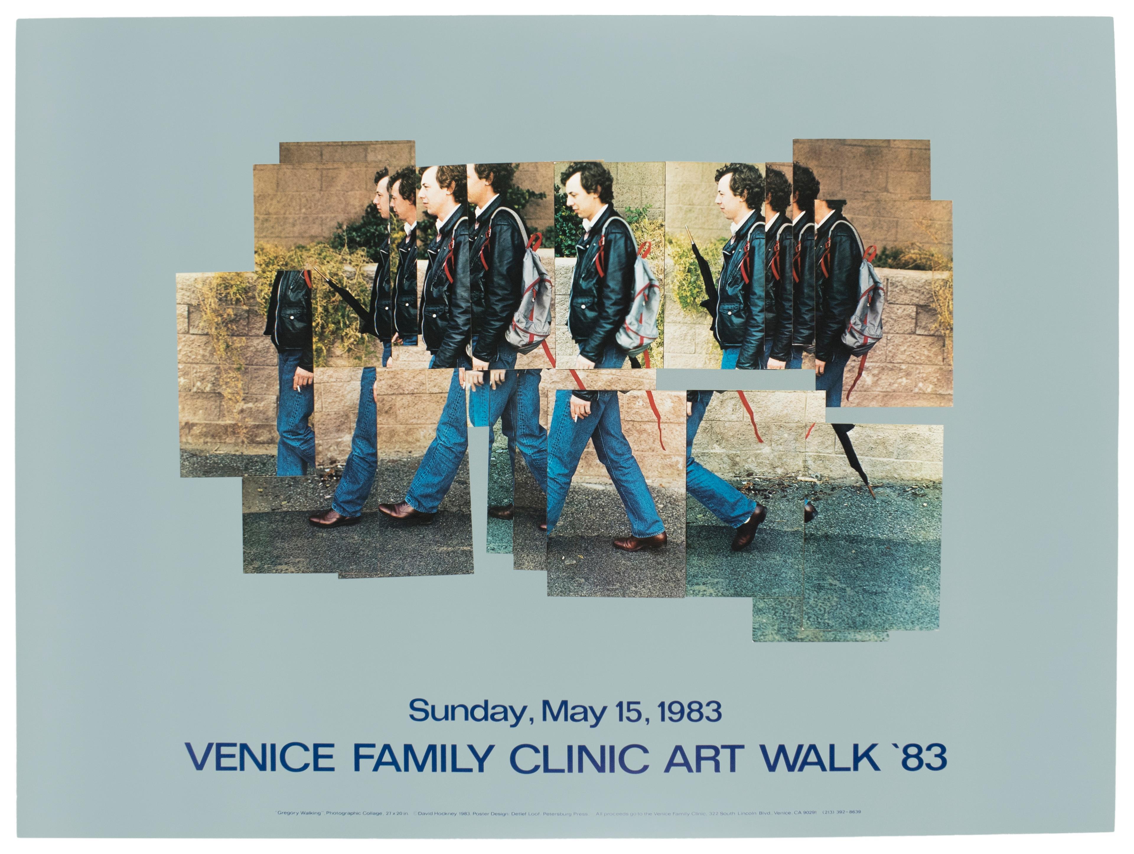 Venice Walk 1983 Vintage David Hockney Exhibition Poster in turquoise teal