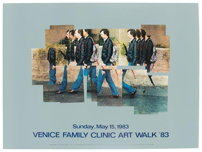 (after) David Hockney Portrait Print - Venice Walk 1983 Vintage David Hockney Exhibition Poster in turquoise teal