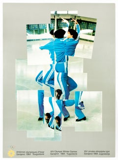 Vintage David Hockney poster, XIV Olympic Winter Games 1984, The Skater