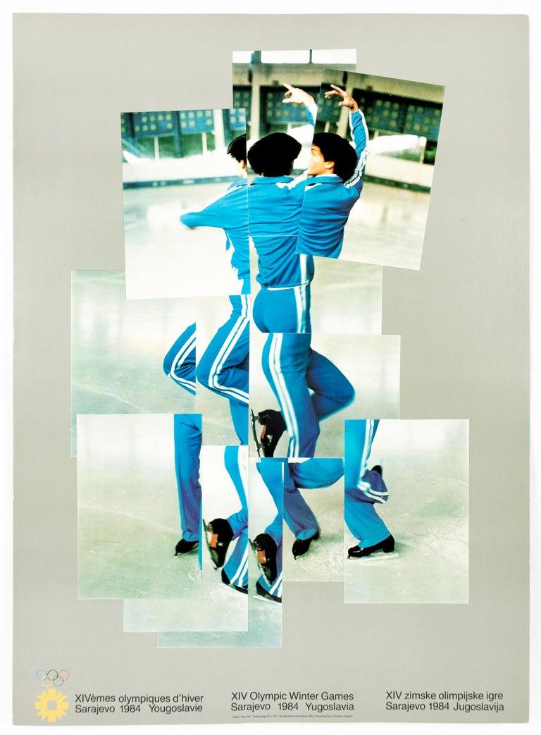 Vintage David Hockney poster, XIV Olympic Winter Games 1984, The Skater - Print by David Hockney