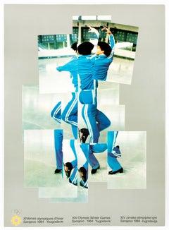 Vintage David Hockney poster, XIV Olympic Winter Games 1984, The Skater