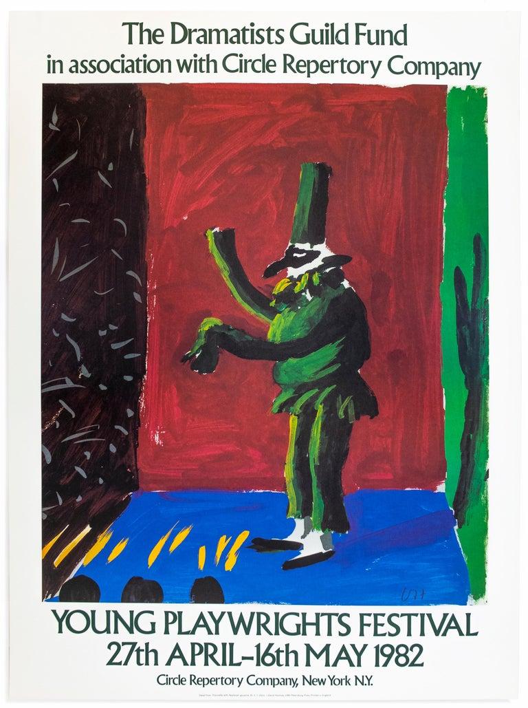 (after) David Hockney Portrait Print - Vintage David Hockney poster Young Playwrights Festival 1982