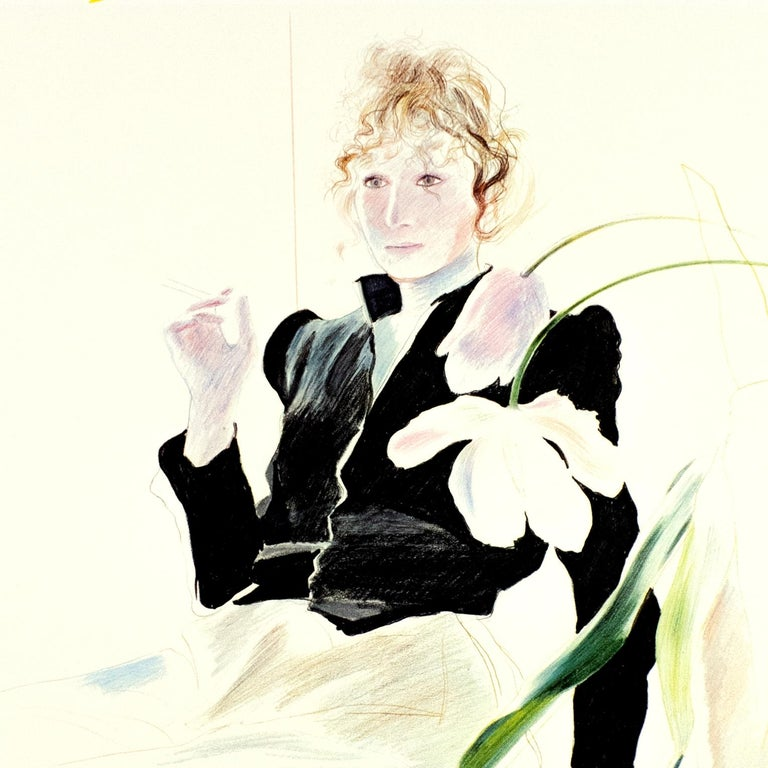 (after) David Hockney Portrait Print - Vintage Hockney Tate Poster, Celia in Black Dress with white flowers and rainbow