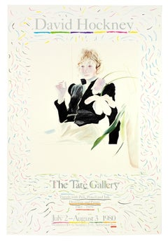 David Hockney Tate Exhibition Poster, Celia in a Black Dress with white flowers